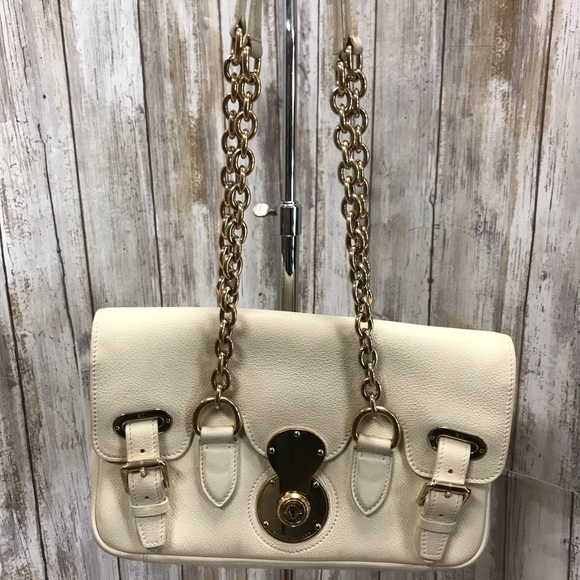 7adb5167f5 Ralph Lauren Ricky Chain white leather bag. M 5c48721495199622350e76b5